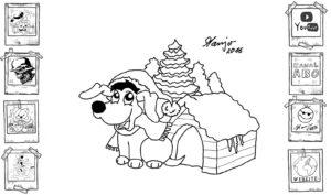 xMas Dog süßer kleiner Weihnachtshund Welpe Zeichnen Hund Weihnachten Mütze Hundehütte santa