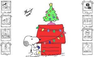 Peanuts Snoopy Weihnachten Baum schmücken Lichterkette