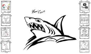 Gekritzel am Morgen, meine ersten Versuche 2017 Kritzel Hai shark skizze Zeichnung